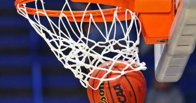 Basketbalový koš, jímž propadá míč